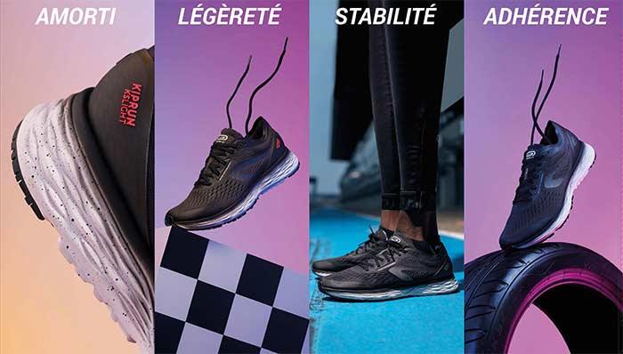 Amorti / Légèreté / Stabilité / Adhérence